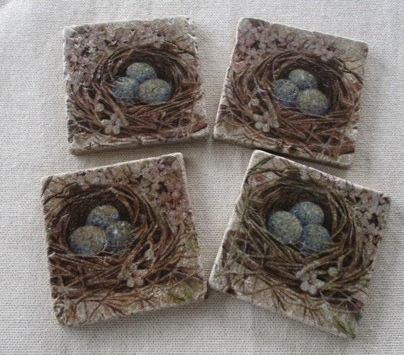 Bird Nest Coasters Home Decor Spring Nature Stone