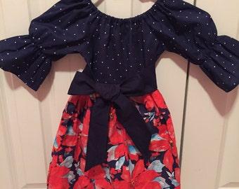 SALE - Girls Christmas Dress - Navy Red poinsettia print dress with sash  - Size 3t Ready to ship Holiday Dress