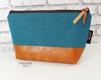 AVA Small Clutch - Teal Linen PU Leather  READY to SHIp Cosmetic Toiletries bag Travel Make Up Zipper Pouch