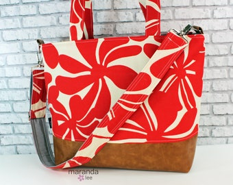 Extra Large Lulu Tote Overnight Diaper Bag- Red Hibiscus and PU Leather -  READY to SHIP  Messenger Bag Dance Travel School Bag