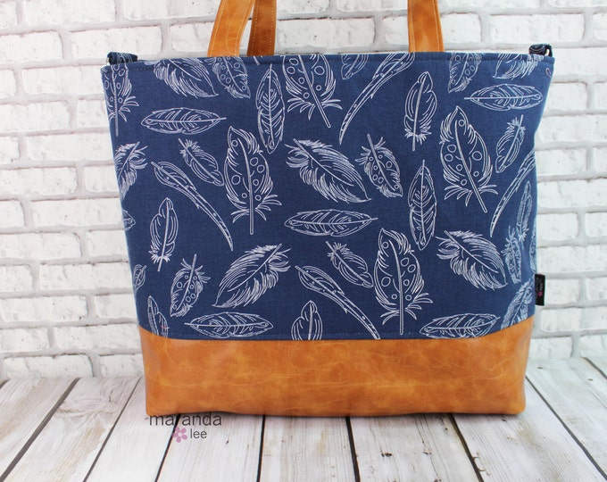 Extra Large Lulu Tote Overnight Diaper Bag - Navy Feathers and PU Leather - ZIPPEr Closure Beach Dance Travel Bag 7 pockets