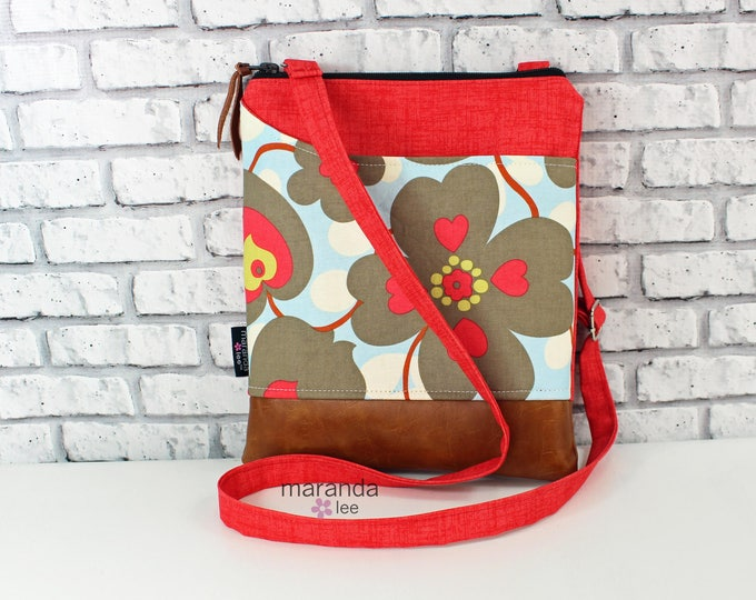 ZOE Messenger  - Coral Denim with Morning Glory -  READY to SHIP