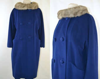 1960s Cerulean Blue Wool Coat with Silver Mink Collar by Forstmann