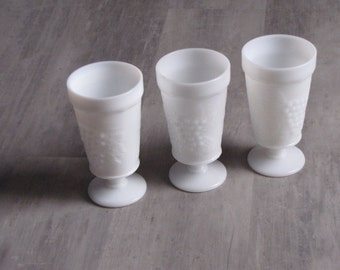 Vintage White Milk Glass Pedestal Vases - Set of Three