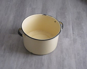Vintage Yellow Enamel Soup Pot with black trim