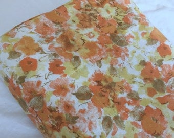 Vintage Twin Flat Bedsheet- Orange floral, Cannon bedsheet,