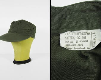 Vintage US Army Utility Cap Green Vietnam War Military Cotton Sateen Fitted Hat - Size Small