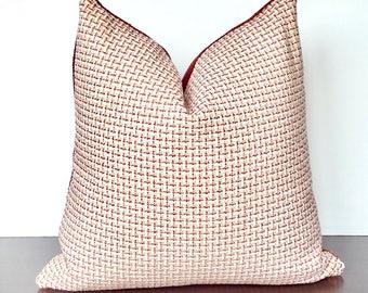 Pink Coral Chenille Striped Pillow, Duralee Aimee, Chenille Check Woven Melon Pink Pillow,  Designer Pillows, PillowSplash
