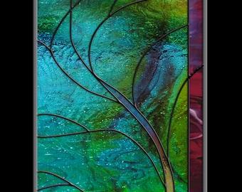 Stained Glass Window Panel • Wave Tree Moonlight Hawaii Turquoise Surf Australia Mexico California
