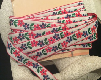 Vintage Embroidered  Flowered Trim, Vintage Red, Green and Blue on White, Vintage Embroidered Edging, Vintage Americana Braid Company Trim