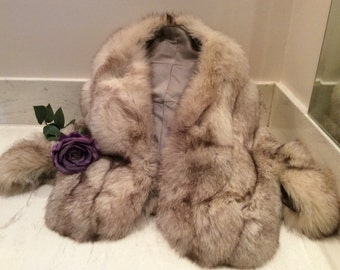 Vintage  Silver Brown Fox Fur Stole with Arm Holes, Vintage Bridal Wrap Vintage Fox Bridal Wedding Stole, Vintage Fox  Fur Wrap Stole