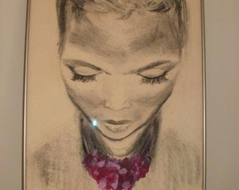 EXQUISITE Original Art Work Charcoal Pastel ISLAND WOMAN Philadelphia