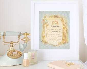 PERSONALIZED BIRTH CERTIFICATE Decorative Birth Certificate Personalized Baby Keepsake Nursery Wall Art Digital Download Birth Announcement
