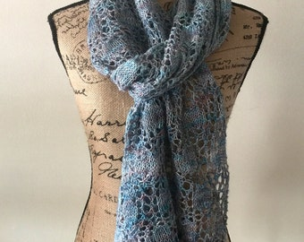 Hand-knit Lace Scarf (ready to ship)