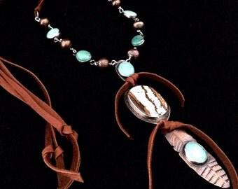 Handmade Jewelry, OOAK, Southwestern, Boho, Kingman Turquoise, Number 8 Turquoise, Feather, Pendant, Necklace