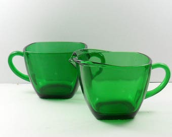 Anchor Hocking Charm Forest Green Square Open Sugar Set Fire King Vintage