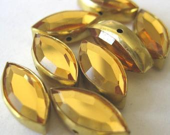 Vintage Peridot Metal Crystal Beads - E267
