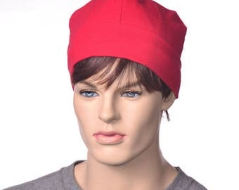 Bright Red Workshop Artisan Skull Cap Made of Cotton Poor Poet Hat