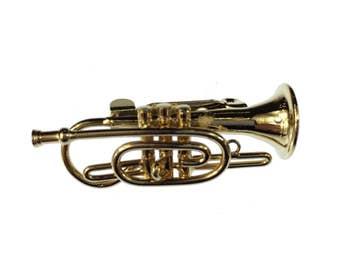 Cornet Brooch flugelhorn Miniblings pin Badge + Box gold trumpet