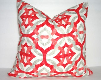 Beautiful Coral & Grey Geometric Linen Pillow Cover Decorative Throw Pillow Cover 18x18