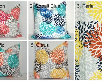 OUTDOOR Blooms in 5 Different Colors Outdoor Mum Floral Blue Yellow Teal Orange Flower Pillow Covers Choose Size