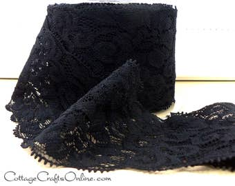 """Elastic Lace Ribbon 2 1/2"""" wide, Black - TEN YARD ROLL - May Arts - Use for hairbands, sewing, lingerie, Stretch Lace, Sewing Trim"""