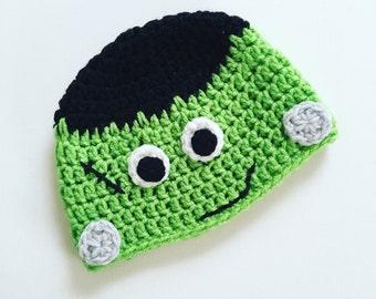 Crochet Frankenstein Hat - Crochet Halloween Beanie - Crochet - Halloween Hat - Frankenstein Hat - Halloween Ideas
