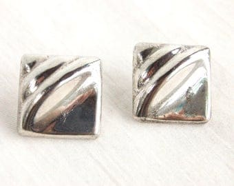 Square Post Earrings Vintage Mexican Sterling Silver Posts Geometric Taxco Mexico Statement Jewelry