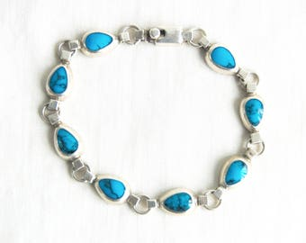 Mexican Bracelet Sterling Silver Size 8 Vintage Turquoise Blue Stone Chain Link Medium Large