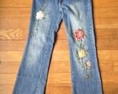 Vintage 90s embellished floral boot cut jeans