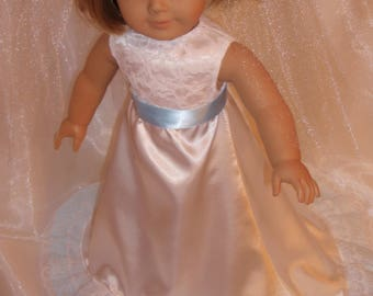 "18 Inch Doll White and Blue Lace Satin Wedding Dress or First Communion Dress and Veil, AG Doll Clothes, Girl Doll Clothes, 18"" Doll Clothes"
