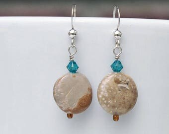 Coconut Tree Agate Earrings with Blue Swarovski Crystals, Sterling Silver