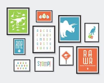 Dinosaur Printable, Nursery Printables, Dino Gallery Wall, Kids Decor, Blue, Orange, Green, T-Rex, Rawr, Dinosaur Nursery, INSTANT DOWNLOAD