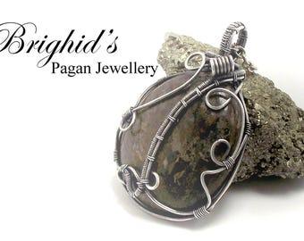 Bronzite Pendant Gemstone  Wire Wrapped Gemstone Necklace Crystal Healing