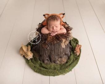 New born Fox Bonnet,Wool Fox Bonnet, Knitted New born Fox Bonnet