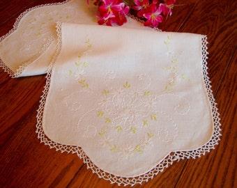 Linen Dresser Scarf Floral Hand Embroidery Vintage Table Runner Crochet Trim Table Linens