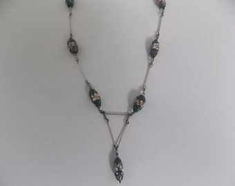 Vintage Art Deco Wedding Cake Millefiori Beads Chain Necklace BEAUTIFUL