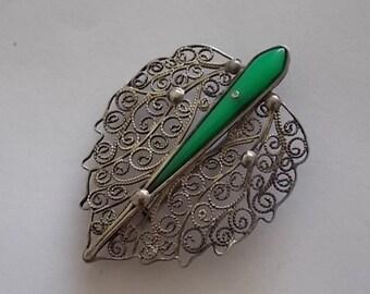 Vintage Silver Filigree Eastern  Brooch Pin - UNUSUAL