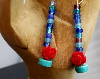 Turquoise and Roses Dangle Earrings