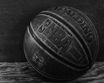 Basketball memories photo, Spalding, NBA, Boys room decor, Sports decor, Black & white basketball, vintage basketball, Home decor, Manly