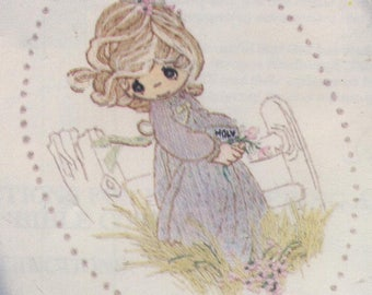 Precious Moments - Bible Cover with Little Girl - Embroidery and Felt Applique Kit - SLIGHTLY DAMAGED