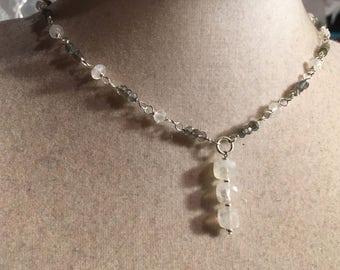 Labradorite Necklace - Rainbow Moonstone Gemstone Jewelry - Gray Jewellery - Sterling Silver - Everyday Jewelry