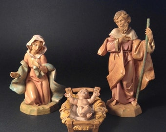 Vintage Fontanini Nativity figures, Nativity pieces Italy, Holy Family, vintage manger figurines