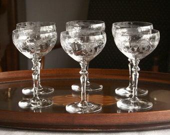Vintage champagne glasses, long stem crystal, etched crystal, hand cut crystal glasses set of six