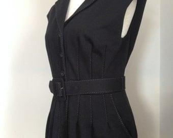 1940's Style Black Sleeveless Dress With Pockets, Belt