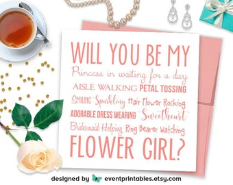 Will You Be My Flower Girl Card, Pink Flower Girl Gift, Invitation, Princess in Waiting, Printable Digital File by Event Printables