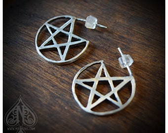 "Sterling Silver earrings pentacle ""Bewitched"" small size"
