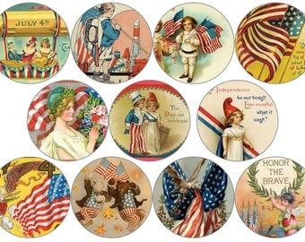 """Vintage America Circle Digital Download Cabochon, Pendant, 2"""", 50mm, 2 inch, Collage Sheet. Will resize to any size you need."""