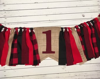 SALE Lumberjack, Woodland Party, Buffalo Plaid High Chair Banner, 1st Birthday, Photo Prop, Cake Smash, Birthday Banner, Rag Tie Banner