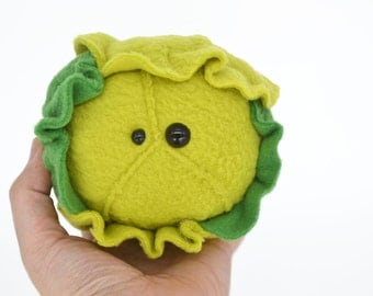 Brussells Sprouts -small  kawaii plushie - desk buddy handmade in the uk small cabbage soft cuddly derp soft toy softies plushies
